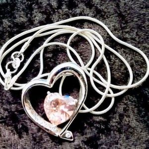 """Jewelry - 24""""925 STAMPED STERLING CHAIN ROSE QUARTZ WH TOPAZ"""